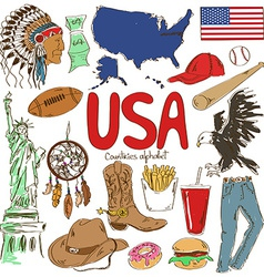 Collection of usa icons vector