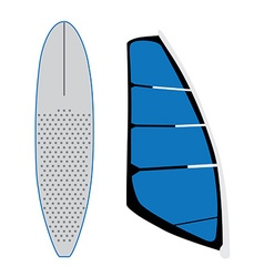 Windsurf sail and surfing board vector
