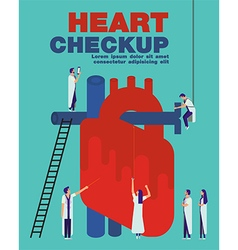 Heart checkup cover flat vector