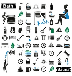 Bath and sauna icons on white vector