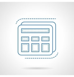 Blue flat line calculator icon vector