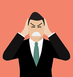Businessman covering his ears with his hands vector