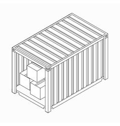 Open container with boxes icon isometric 3d style vector