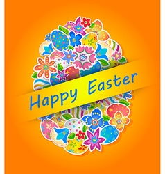 Easter symbol egg and spring flower 4 vector