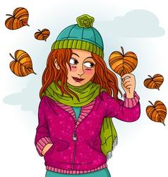girl in autumn vector image