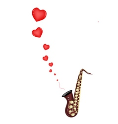 A musical bass saxophone playing love song vector