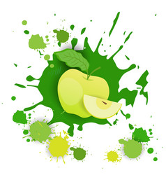 apple fruit logo watercolor splash design fresh vector image vector image