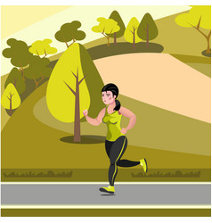 beautiful girl jogging in the park vector image vector image