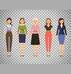 beautiful women in different outfits vector image vector image