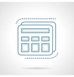 Blue flat line calculator icon vector image vector image