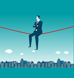 businessman sitting on rope and city vector image vector image