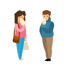 Cartoon Sick Man and Woman vector image