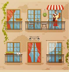 classic window balconies composition vector image vector image