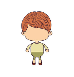 Colorful caricature of faceless cute boy with vector