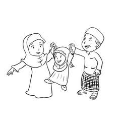 Coloring happy muslim family - vector