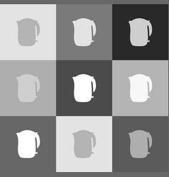 electric kettle sign grayscale version of vector image vector image