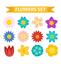 flowers and leaves icon set flat style floral vector image vector image