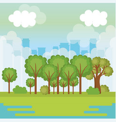 Forest and city design vector