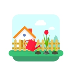 Gardening concept village home and garden vector image