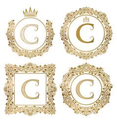 Golden letter c vintage monograms set heraldic vector