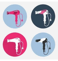 Hair-drier 4 set Professional blow hairdryer with vector image vector image