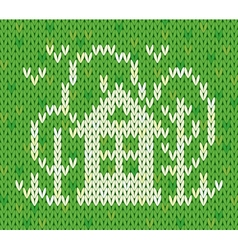Knitted pattern with house and trees vector