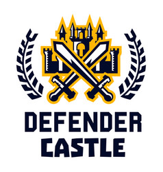 logo defender castle fortress tower cross vector image vector image