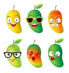 Mango faceemojisemotion hello summer vector