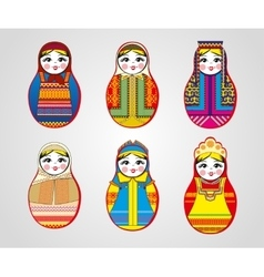 Matryoshka dolls in different outfits vector