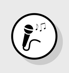 Microphone sign with music notes flat vector