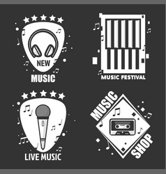 Music labels headphones microphone for vector