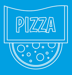 Pizza restaurant label icon outline style vector