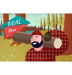 Real man lifestyle natural life cartoon retro wood vector