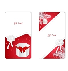 Set of two vertical white Christmas gift card with vector image vector image