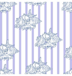 Shell seamless pattern on striped background vector image vector image