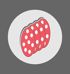 Slices of salami icon vector