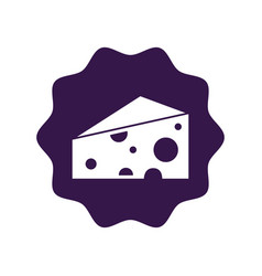 Sticker delicious cheese food icon vector