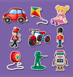 sticker design for many toys vector image