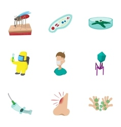 Symptoms of malaria icons set cartoon style vector