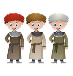 Three priests in medieval time vector