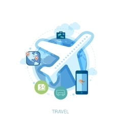 Travel destination via air and online booking flat vector