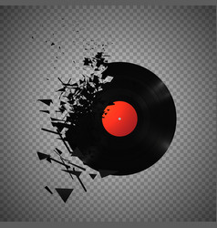 Vintage vinyl records broken and shattered into vector