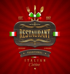 Vintage wooden sign for Italian restaurant vector image vector image