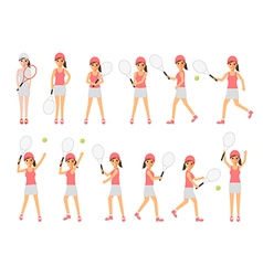 Tennis players tennis sport athletes in actions vector