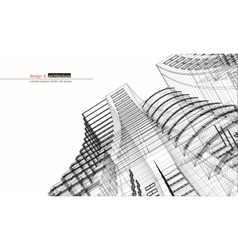 Urbanistic skyscraper abstract 3d render of vector