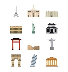 World cities icons vector