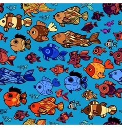 Colorful pattern with cartoon childish fishes vector