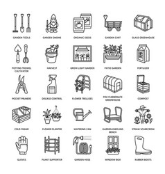 Gardening planting and horticulture line icons vector