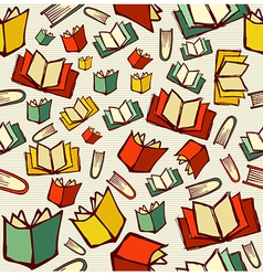 Back to school education cartoon books seamless vector image