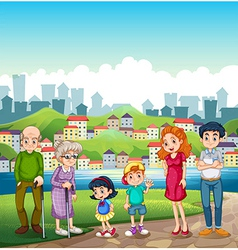 A big happy family standing at the riverbank vector